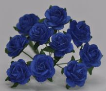 1.5cm DARK ROYAL BLUE Mulberry Paper Roses